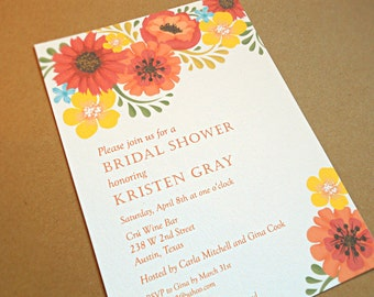 Bridal Shower Invitations / Wedding Shower Invitations / Orange and Yellow Vintage Flowers, 10-Count
