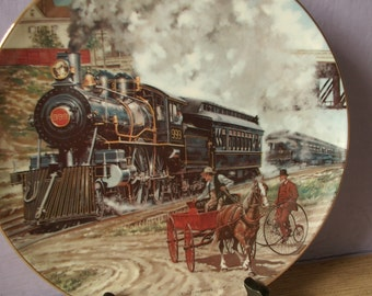 vintage Classic American Trains collectible plate, A Race Against Time, 1988, Victorian theme, railroad, western bar decor, bicycle