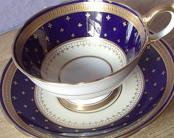 Antique Aynsley gold fleur de lis tea cup and saucer, blue tea cup, English tea cup, blue and gold bone china tea cup, antique tea cup