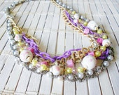 Beaded Layers Statement Necklace, Pastel colors, Chains and Beads, Soft Grunge, Hipster Jewellery, Mixed metals, Casual Chic