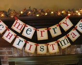 Merry Christmas Banner Garland Red and Green Sign Bunting Swag Beautiful Fireplace Decoration