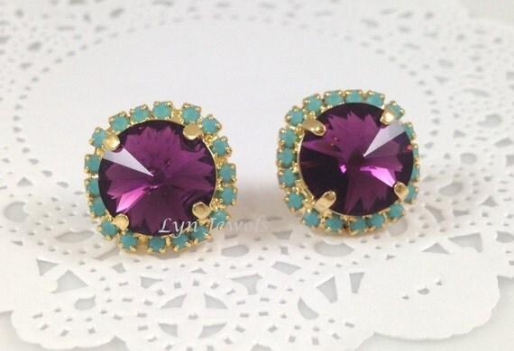 Amethyst Stud Earrings - Swarovski Crystal Purple Mint Turquoise Rhinestone Gold Earrings Vintage Inspired Large Earrings