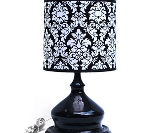 Black Ceramic Lamp with Damask Shade, OOAK