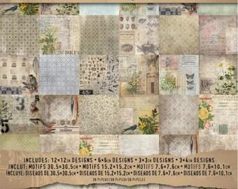 "Idea-Ology Paper Stash Paper Pad - Wallflower Design Scrapbook Paper Pad - 12""X12"" - 36 Different Designs by Tim Holtz (321186)"