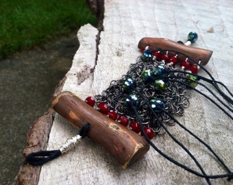 Bohemian Bracelet made from Wood, ChainMaille, Crystals, Black Hemp rope and Wire...Black Green and Ruby Red