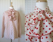 70s Polka Dot Ruffle Blouse / 1970s Red Polka Dot Secretary Blouse