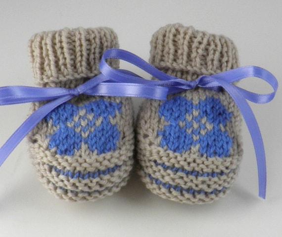 Hand Knit Baby Boy Bootie Newborn Gift Set Newborn Baby Boy Gift
