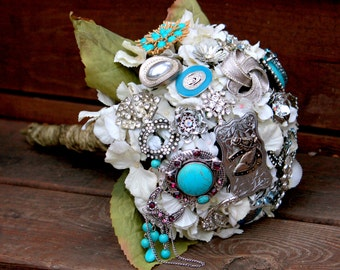 Country Western bouquet cowgirl turquoise bridal bouquet with FREE TOSS/BRIDESMAID bouquet Aqua Brooch Bouquet