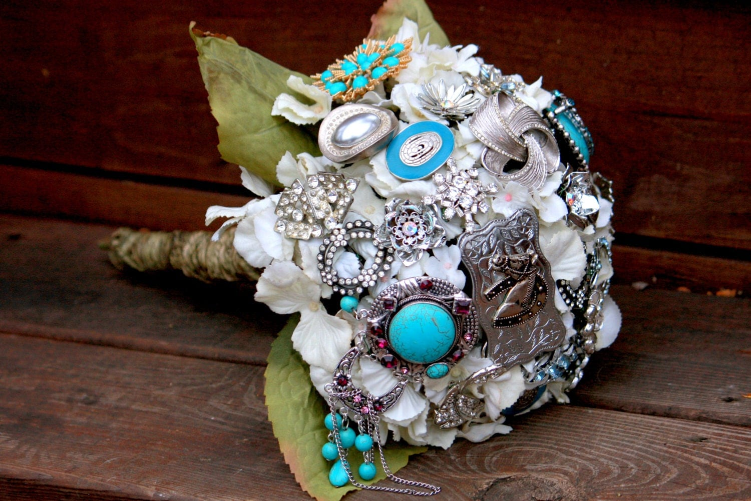 Country Western Bouquet Cowgirl Turquoise Bridal Bouquet With