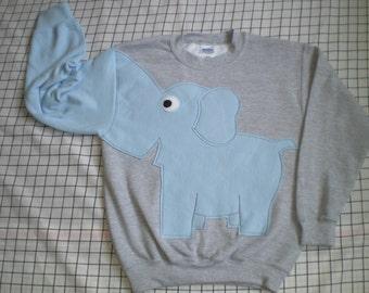 Elephant sweatshirt with light blue elephant. Elephant trunk sleeve. Childs small, medium or large, SPECIAL PRICE