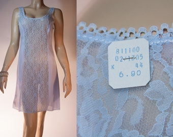 NWT unworn silky soft sheer pastel blue nylon and matching delicate lace panel detail 1980's vintage full slip petticoat unterkleid - 2946