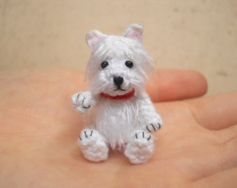 White Westie - Crochet Miniature Dog Stuffed Animals - Made To Order