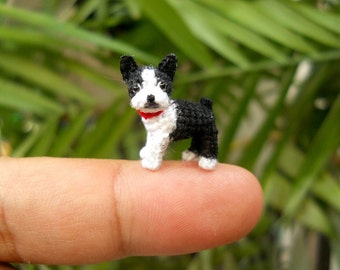 Boston Terrier - Tiny Crochet Micro Amigurumi Dog stuffed Animal - Made To Order
