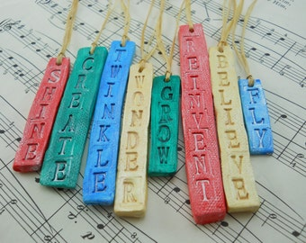 ceramic STAMPED WORD set, fun and inspirational word charms, unique decor for lighting up your home year round, or giving as gifts