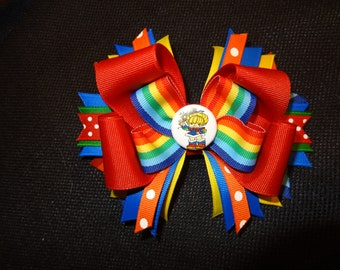 Rainbow Brite inspired hairbow, large 5 inch bow