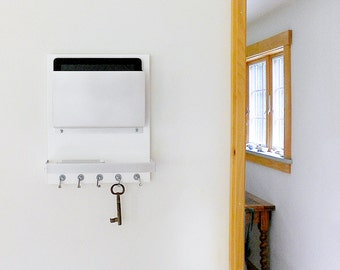 QUARTZ: Single Larger Tablet/Mail Holder with Key Rack Hooks, Detailed with Personal Items Shelf for Phone, Wallet, Glasses and Metal Finish