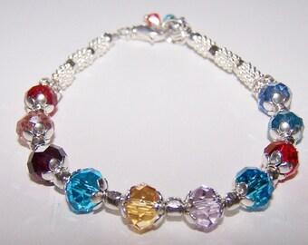 Birthstone Bracelet Mothers Grandmothers Swarovski Family Birthday Bracelet