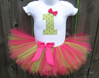 Baby's First Birthday Pink and Green Polka Dot Tutu Set and Matching Headband | Personalize with any Number or Letter