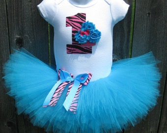 Baby's First Birthday Turquoise and Pink Zebra Cupcake Tutu Set and Matching Headband | Birthday Photo Prop, Party Dress