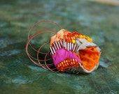 Oriental Bling - statement hand bead embroidered oriental color block ring