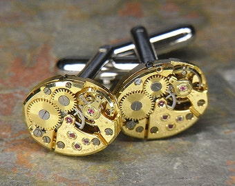 Steampunk Cufflinks Cuff Links - Torch SOLDERED - Vintage GOLD BULOVA Watch Movements - Birthday, Anniversary Gift - Super Elegant Set