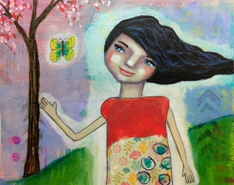 Whimsical Folk Art Girl - Getting Away 9x12 Original Mixed Media Painting on 140lb Watercolor Paper