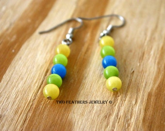 Colorful Earrings - Beaded Earrings - Yellow Green Blue Earrings - Yellow Earrings - Green Earrings - Cats Eye Glass Earrings - Gift For Her