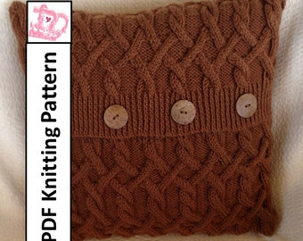 "KNITTING PATTERN PDF, Cable knit pillow cover, Hexagons with a twist 18""x18"" cable pillow cover"