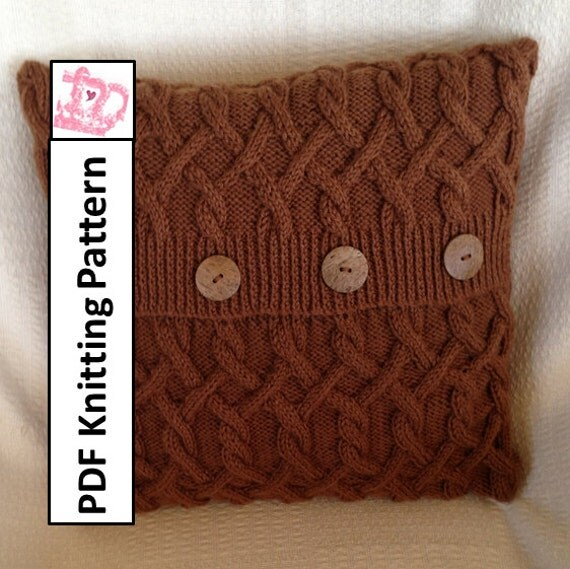 Cable Knit Sweater Pattern Free : KNITTING PATTERN PDF Cable knit pillow cover Hexagons with a