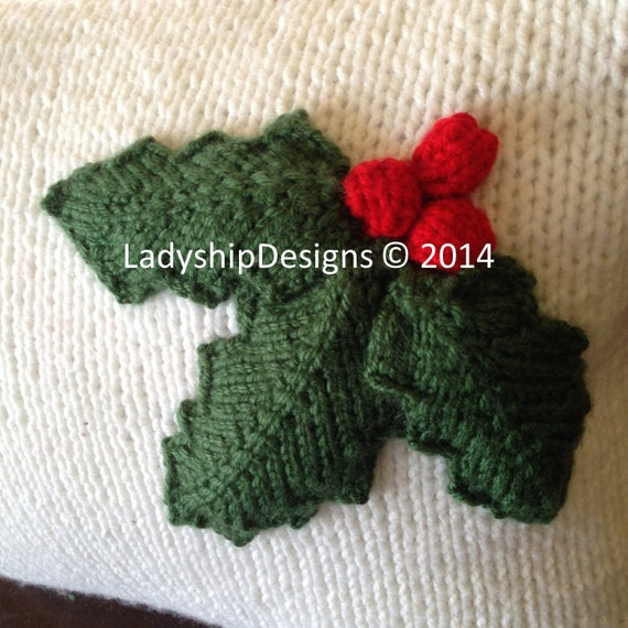 Christmas Knitting Pattern bundle, Holly Leaves 12