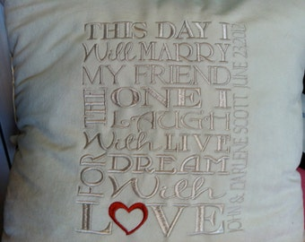 Custom Wedding Pillow Cover with Couples names on it Faux Ultra Suede or other material on request