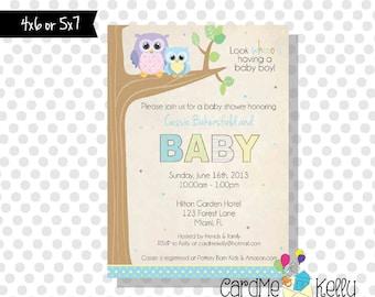 Printable Cute Hoot Owl Forest Trees Boy Girl Neutral Baby Shower Invitation - Digital File