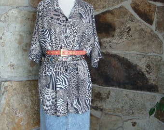 80s OVERSIZED ANIMAL SHIRT vintage cheetah slouchy button up tunic L