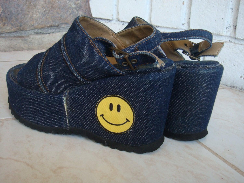 90s denim platform sandals vintage shoes smiley club kid