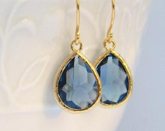 Navy Blue Dangle Earrings, Sapphire Teardrop Earrings, Bridesmaids Jewelry, Bridal Jewelry, Wedding Jewelry, Navy Bridesmaid Earrings