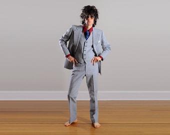 mens vintage suit mens three piece suit blue black white check seersucker Anderson Little 39 40 39R 40R Lucky 7