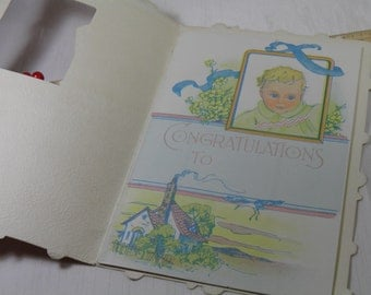 Vintage Baby Card Advertisement Gift from State Life Insurance Company  - New Baby Customer Gift Booklet