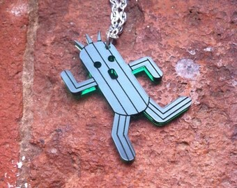 Final Fantasy Cactuar inspired  laser cut acrylic necklace