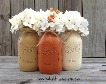 Painted Mason Jars. Vase. Vintage looking Painted Mason Jars. Tan. Cream. Burnt Orange. Rustic Home Decor. Set of 3 Quart.