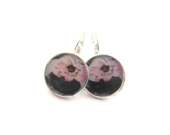 Pink Water Lily Earrings