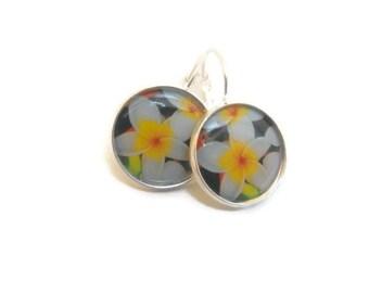 Frangipani White And Yellow Flower  Earrings