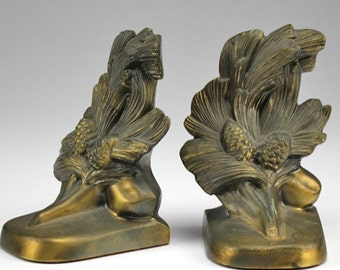 Vintage Brass Pine Cone Bookends by Philadelphia Manufacturing Company