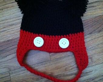 Crochet Mouse Pom Pom ears earflaps hat