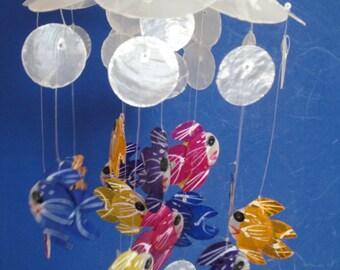 "Sea Shell Capiz Wind Chime 16.5"" Garden Beach Patio Tropical Decor Seashells"