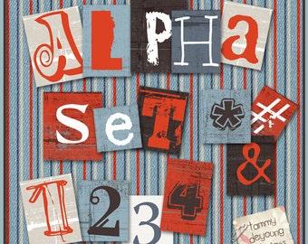Digital Alphabet Clip Art, Urban Art, 90s Grunge stickers, Industrial letters for Scrapbooks, graduation invites, cards, orange, blue, brown