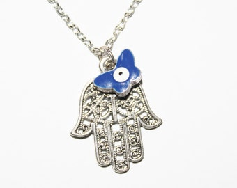 Hamsa charm necklace, Silver necklace, Judaica jewelry, hamsa charm, hamsa necklace, butterfly charm, evil eye charm necklace