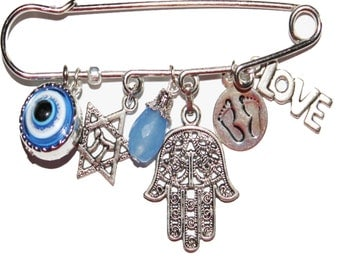 Brooch, Kilt pin, Safety pin, charm collection kilt pin/safety pin brooch, hamsa pin, evil eye, Baby pin, Charm brooch, baby brooch