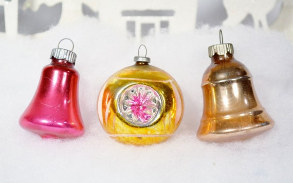 Items similar to christmas bell ornaments pink gold shiny for Small gold christmas ornaments