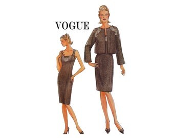 Very Easy Vogue 8282 Princess seam dress and jacket UNCUT OOP Sewing Pattern Sizes 6 8 10 12 Bust 30 1/2- 34