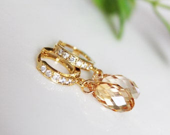 Golden Shadow Bridal Earrings, Champagne Crystal Drop Wedding Earrings, Bridesmaid Earrings, Gold Crystal Drop Bridal Accessories, Dainty